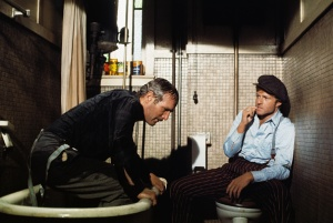 (Original Caption) Robert Redford (left) and Paul Newman shown in scene from The Sting, which won the